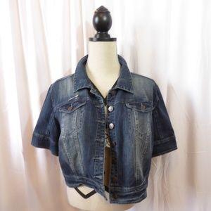 American Rag Cropped Short Sleeve Denim Jacket